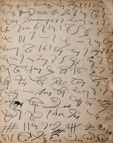 Automatic writing on the reverse of a Madge Gill work