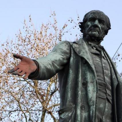 Gladstone's red hand, painted to commemorate the industrial action taken by the match girls in 1888