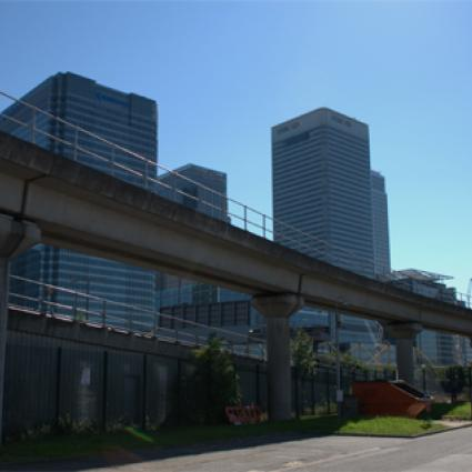 Dennis McNulty photo of Canary Wharf from underpass